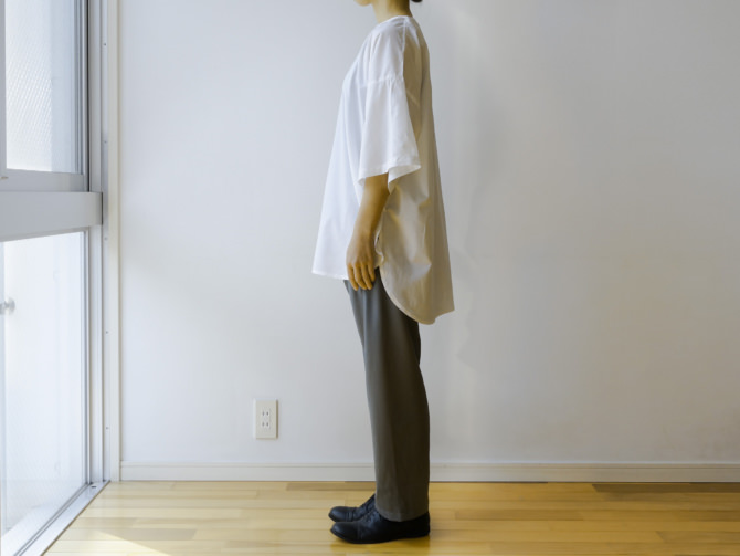 siz=M/col=GRY [Tops]IR-B-224NS(Cotton DARUMA Shirts)/siz=ONE/col=WHT (model=160cm/5'2'')