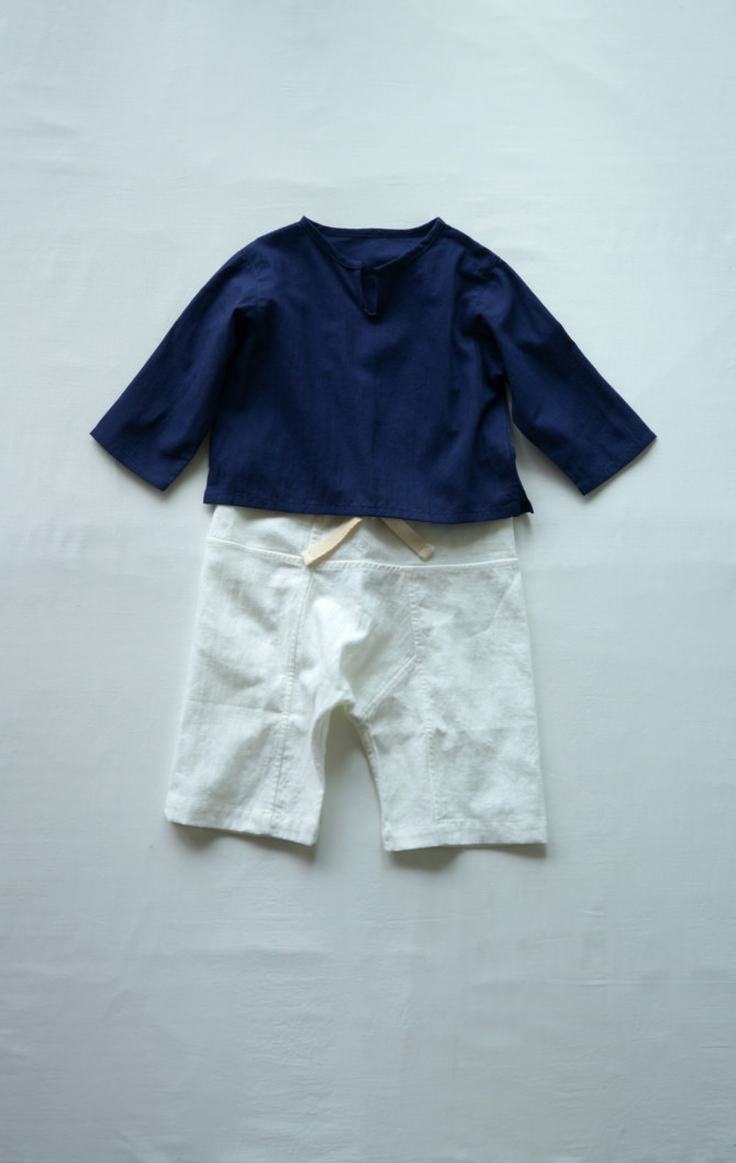 [Tops]col=NVY [Bottoms]IR-BP-127TN1088(Hemp Cotton Kid's Pants)/size=ONE/col=WHT