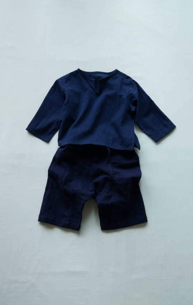 [Tops]col=NVY [Bottoms]IR-BP-127TN9696(Linen Cotton Gauze Kid's Pants)/size=ONE/col=NVY