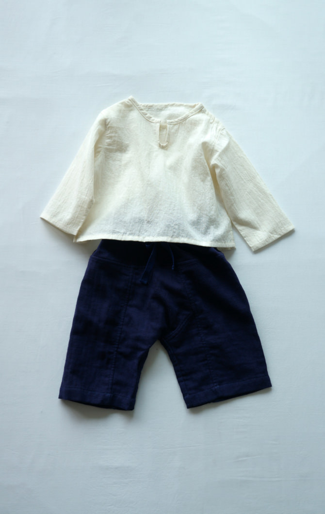 [Tops]col=NTL [Bottoms]IR-BP-127TN9696(Linen Cotton Gauze Kid's Pants)/size=ONE/col=NVY