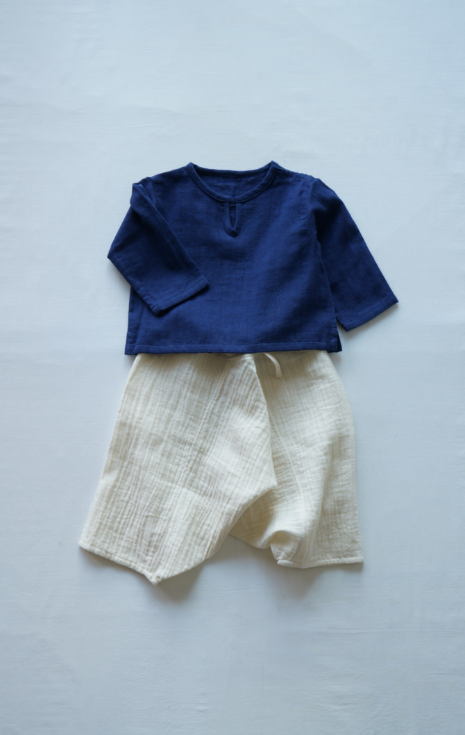 [Bottoms]col=NTL [Tops]IR-BB-147WG-11(Double Gauze Baby's Blouse)/siz/=ONE/col=NVY