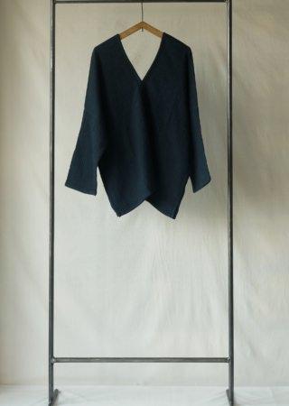 +KORURI 天然染 リネンコットン カレンシャツ-七分袖-