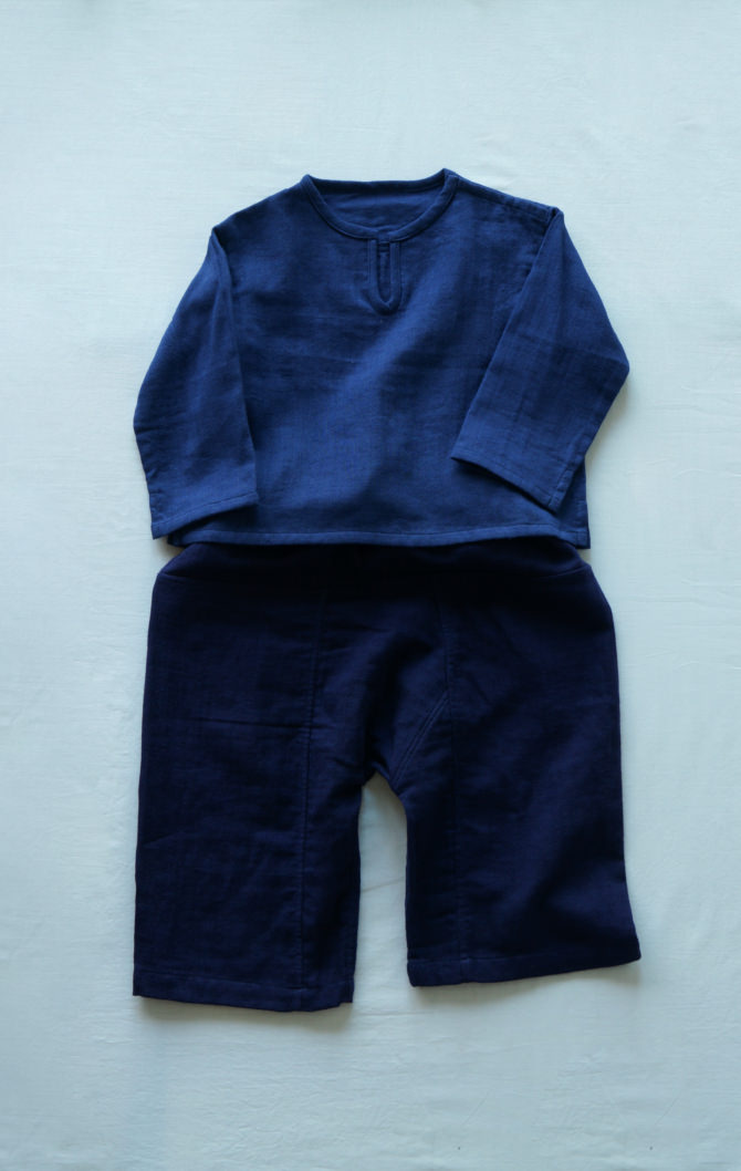 [Tops]col=NVY [Bottoms]IR-KP-127TN9696(Linen Cotton Gauze Kid's Pants)/size:ONE/col=NVY