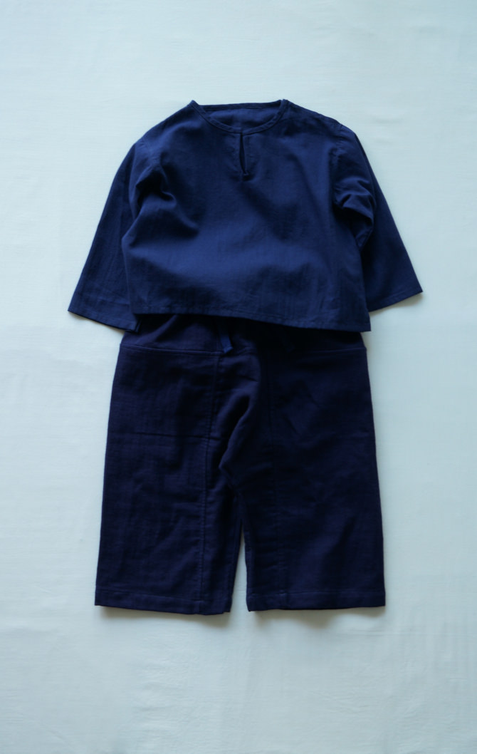 [Tops]col=NVY [Bottoms]IR-KP-127TN9696(Linen Cotton Gauze Kid's Pants)/size=ONE/col=NVY