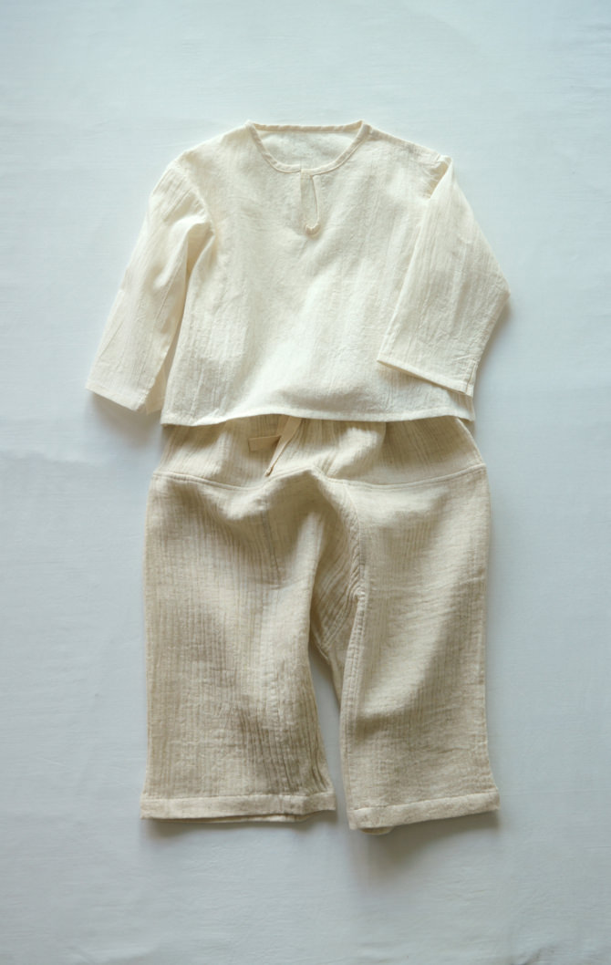 [Tops]col=NTL [Bottoms]IR-KP-127TN9696(Linen Cotton Gauze Kid's Pants)/size=ONE/col=NTL