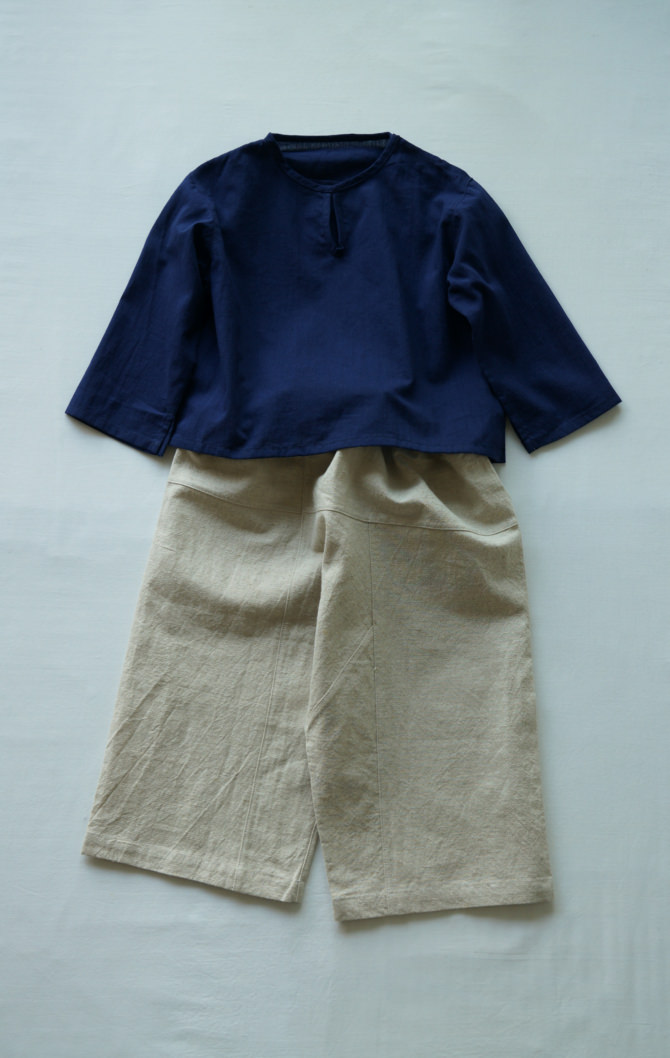 [Tops]col=NVY [Bottoms]IR-KP-127LC(Linen Cotton Kid's Pants)/size=ONE/col=NTL