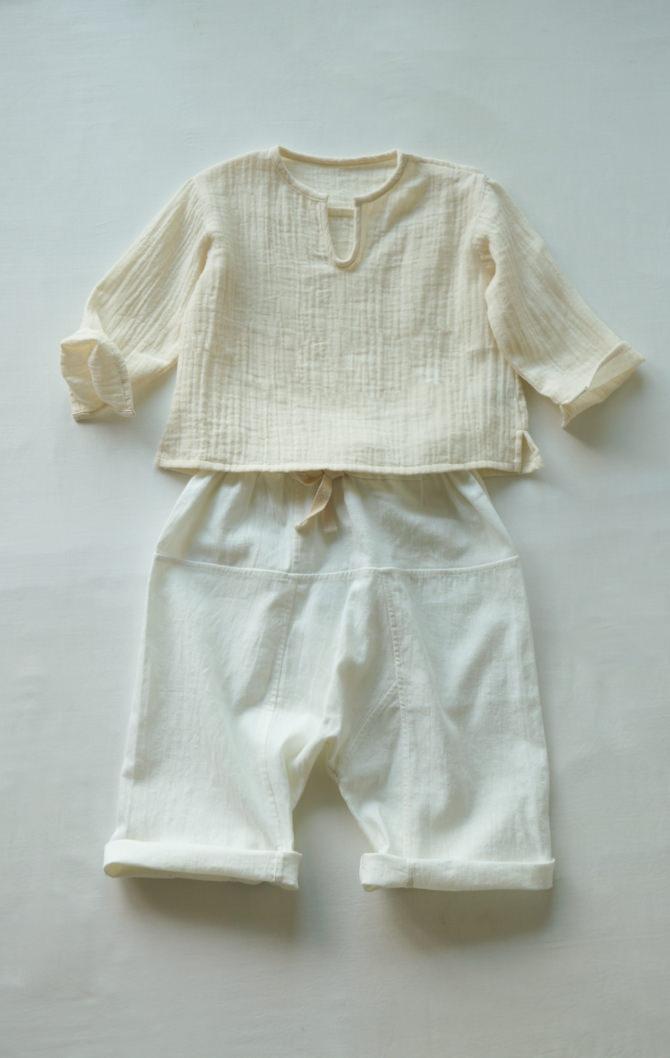 [Tops]col=NTL [Bottoms]IR-BP-127TN1088(Hemp Cotton Kid's Pants)/size=ONE/col=WHT
