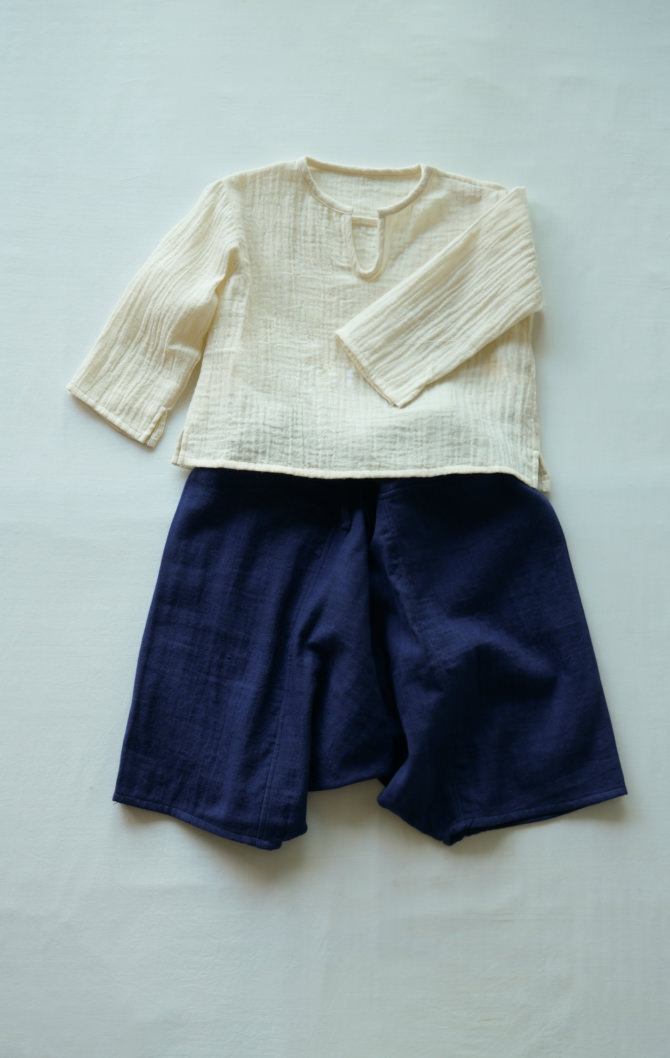 [Tops]col=NTL [Bottoms]IR-KP-230WG(Double Gauze Kid's YAO Pants)/size:ONE/col=NVY