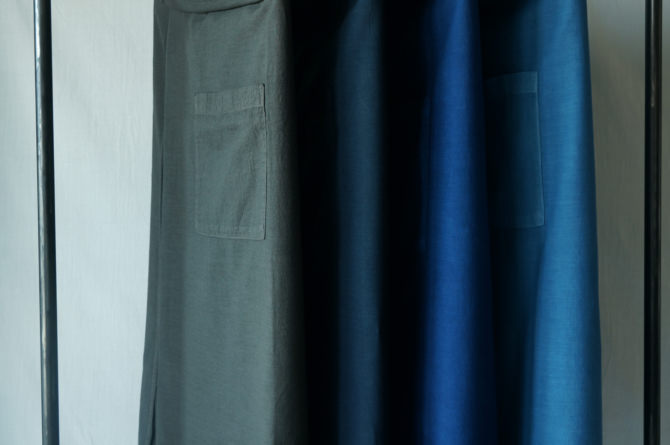 (left to right) col. チャコール(BROWN) /紺(NAVY) /群青(LAPIS) / 青(BLUE)