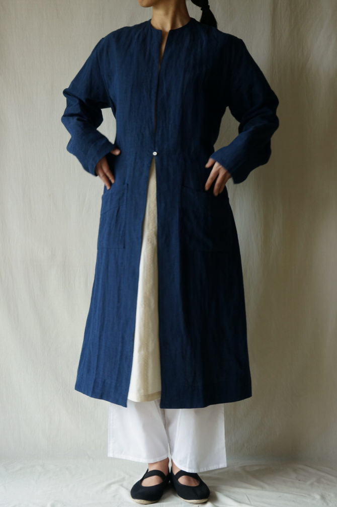 col.WHT , size.M |model=160cm ※OUTER=IR-C-238*LN(Linen Single Open Coat) col.NVY size.M