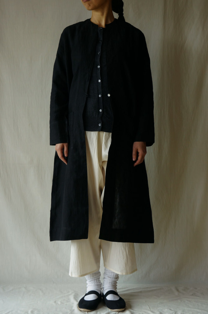 col.NTL , size.S |model=160cm ※OUTER=IR-C-238*LN (Linen Single Open Coat) col.BLK size.S