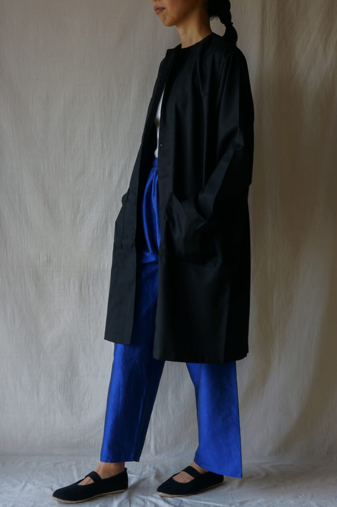 col.BLU , size.S | model=160cm ※OUTER=IR-C-161CW col.BLK, size.M
