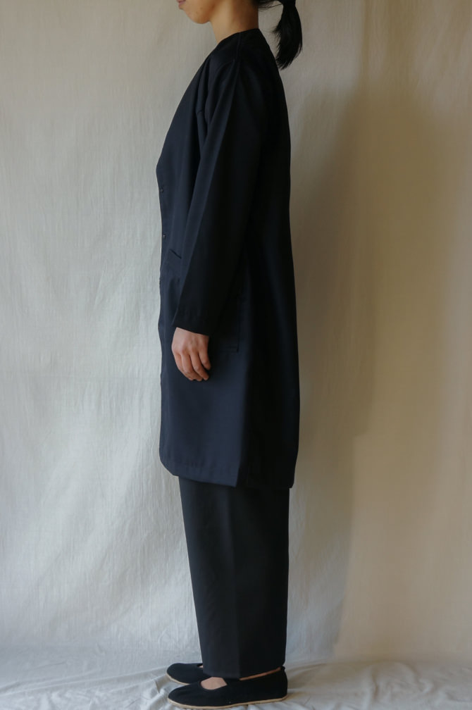 col.BLK size.S | model=160cm ※OUTER=IR-C-161CW col.NVY size.S