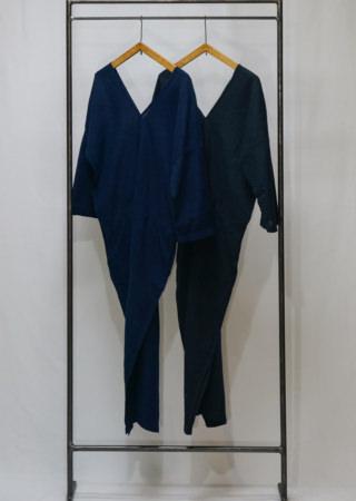 +KORURI 天然染 薄コットンカレンドレス-七分袖-